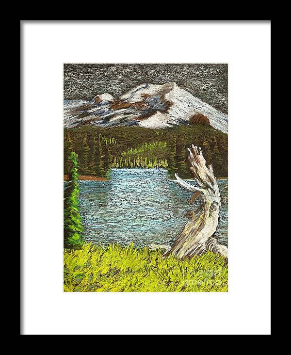 Mountains Framed Print featuring the painting Slumbering Snowcaps by Jessi and James Gault