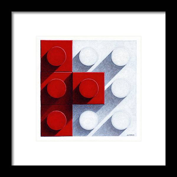 Abstract Framed Print featuring the painting Small Tiles 3 by Jeff Lyons