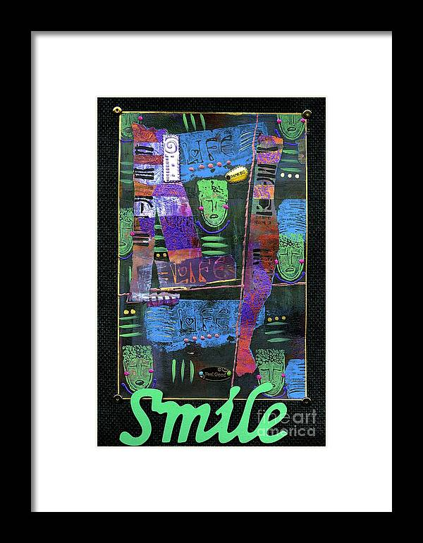 Women Framed Print featuring the mixed media Smile Banner by Angela L Walker