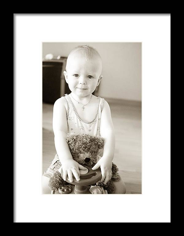 Baby Framed Print featuring the photograph Smiling Baby by Roman Anuchkin