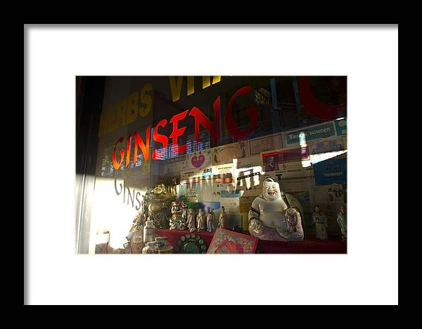 Store Window Framed Print featuring the photograph Smiling Buddha In The Window by Sven Brogren