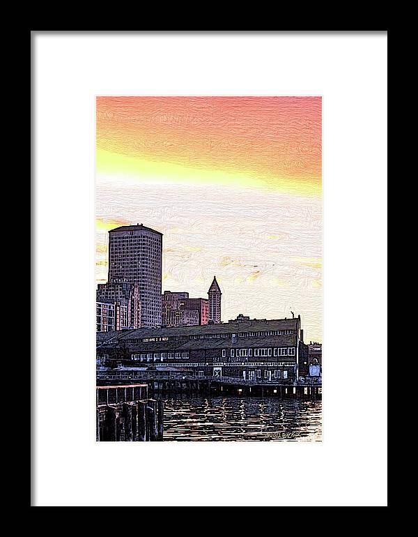 Sunrise Framed Print featuring the digital art Smith Tower View by Arthur Kuntz