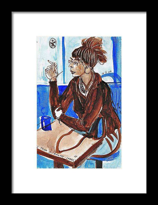 People Framed Print featuring the painting Smoking Lady by ITI Ion Vincent Danu