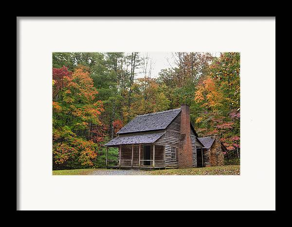 Smoky Mountains Framed Print featuring the photograph Smoky Mountains Log Capbin by Charles Warren