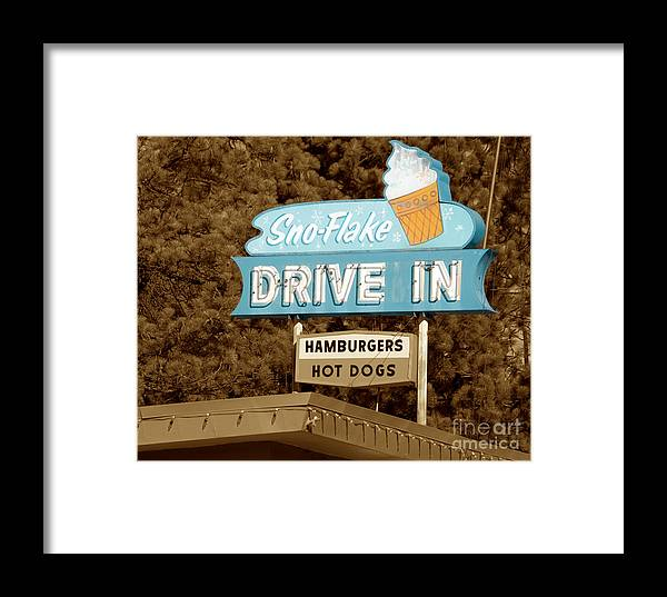 Lake Tahoe Framed Print featuring the photograph Sno-flake Drive In Lake Tahoe by Jim And Emily Bush