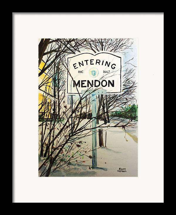 Mendon Ma Framed Print featuring the painting Snow Day by Scott Nelson
