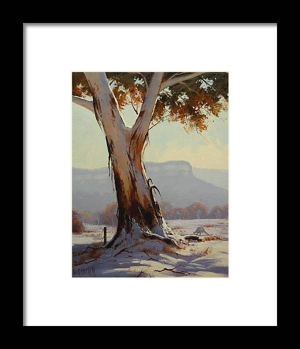 Winter Framed Print featuring the painting Snow Gum by Graham Gercken