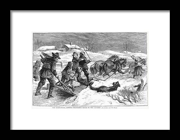 1867 Framed Print featuring the photograph Snowstorm In The Country by Granger