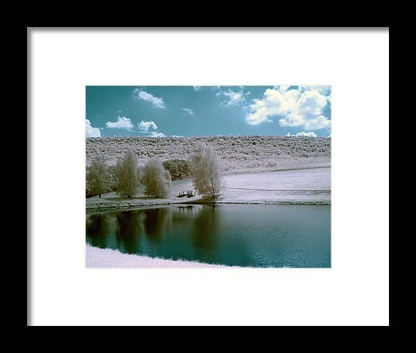 Landscape Framed Print featuring the digital art Snowy White by Sharon Batdorf