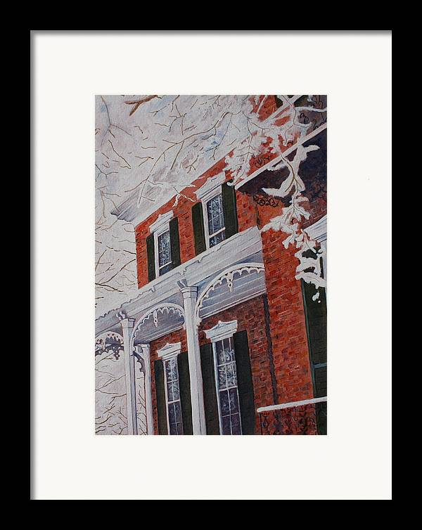 Historic Snowy Mansion Framed Print featuring the painting Snowy Yesteryear by Patsy Sharpe