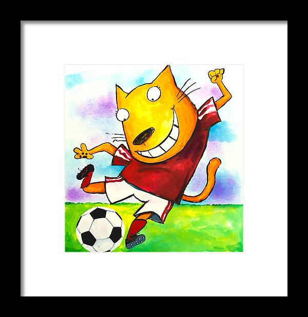 Cat Framed Print featuring the painting Soccer Cat by Scott Nelson