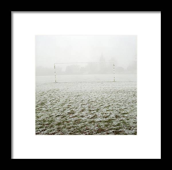 Soccer Goal In Frosty Field Framed Print by Laurie Castelli