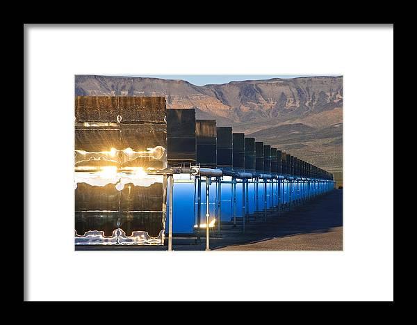 Nevada Solar One Framed Print featuring the photograph Solar Power Plant At Sunrise by David Nunuk