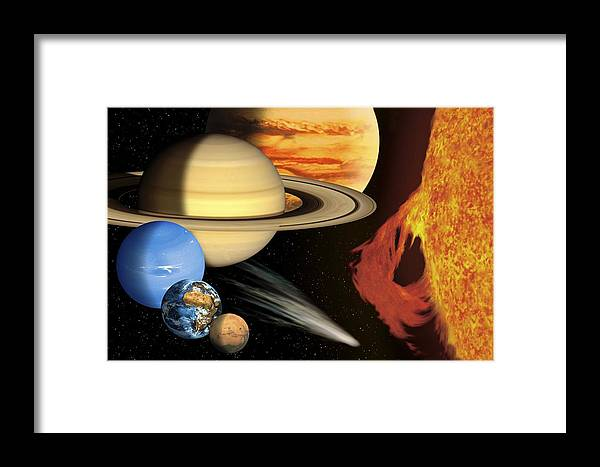 Earth Framed Print featuring the photograph Solar System, Artwork by David Ducros