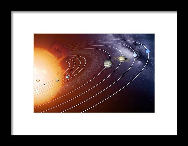 Solar System Framed Print featuring the photograph Solar System Orbits, Artwork by Detlev Van Ravenswaay