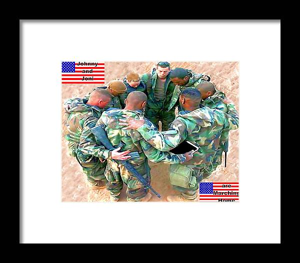 Flag Framed Print featuring the digital art soldiers Praying by Terri Mertz