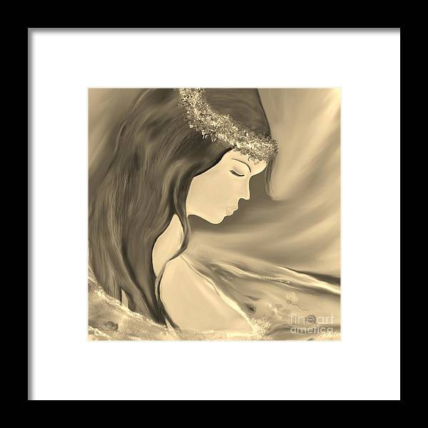 Girl Framed Print featuring the digital art Solitude   Black And White by Lori Lovetere