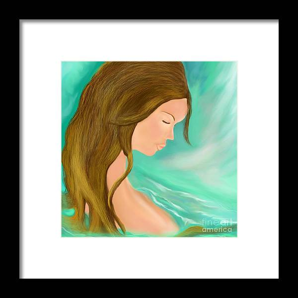 Girl Framed Print featuring the digital art Solitude 1 by Lori Lovetere