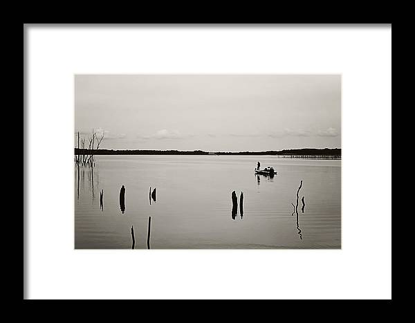Solitude Fishing Manasquan Reservoir Framed Print featuring the photograph Solitude Fishing Manasquan Reservoir by Terry DeLuco