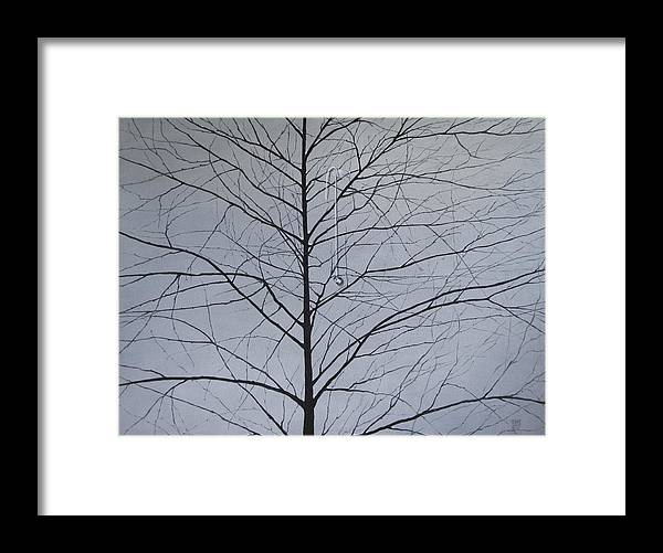 Winter Trees Framed Print featuring the painting Sorrow by Roger Calle