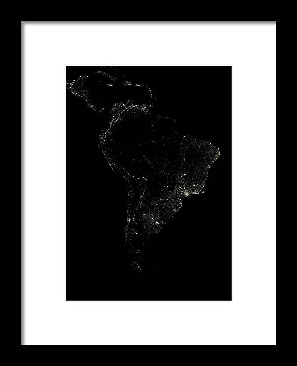 South America Framed Print featuring the photograph South America At Night by Planetobserver