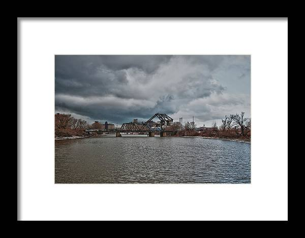 Railroad Framed Print featuring the photograph South Buffalo Rail Bridge by Guy Whiteley