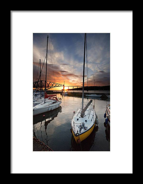 Forth Rail Bridge Sunrise Framed Print featuring the photograph South Queensferry Harbour by Keith Thorburn LRPS AFIAP CPAGB