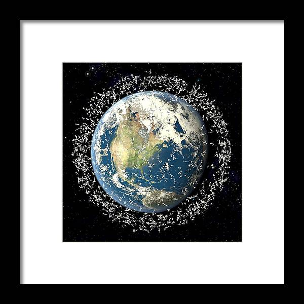Earth Framed Print featuring the photograph Space Junk, Conceptual Artwork by Roger Harris