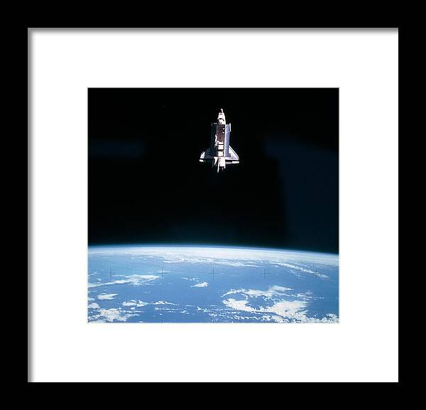 Space Shuttle Challenger During Mission Sts 7 Framed Print By Nasa