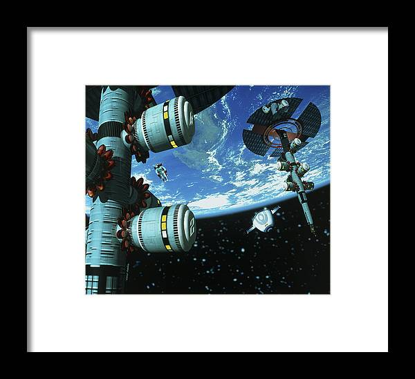 Space Station Framed Print featuring the photograph Space Stations by Victor Habbick Visions