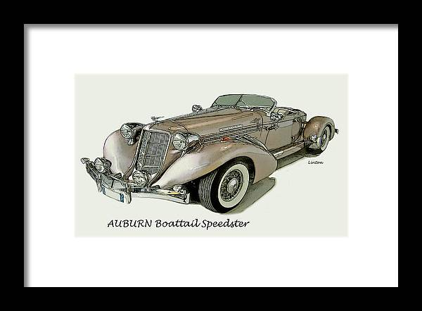 Auburn Boattail Speedster Framed Print featuring the digital art Speedster by Larry Linton