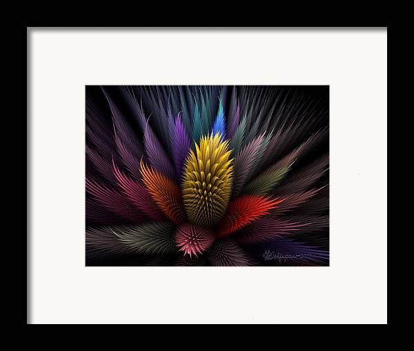 Abstract Framed Print featuring the digital art Spiky Botanical by Peggi Wolfe