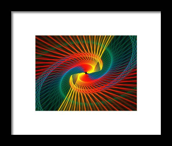 Abstract Framed Print featuring the digital art Spiral Rainbow by Kim French