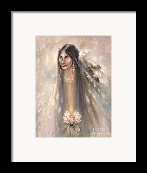 Spirit Framed Print featuring the mixed media Spirit Woman by Charles B Mitchell