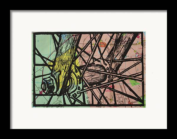 Spokes Framed Print featuring the drawing Spokes On Map by William Cauthern