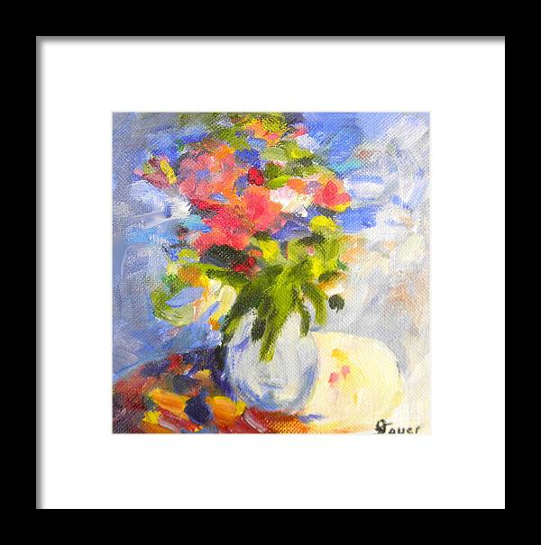 Flowers Framed Print featuring the painting Spring Bouquet by Julie Sauer