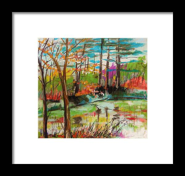Spring Landscape Framed Print featuring the painting Spring Pond Side by John Williams