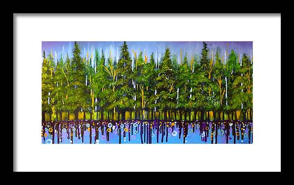 Pine Trees Framed Print featuring the painting Spring Sparklers by Tammy Watt