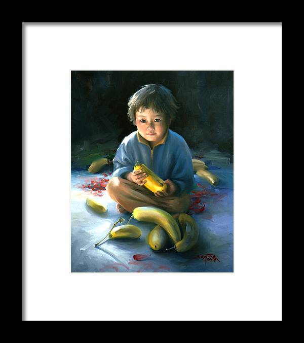Children Framed Print featuring the painting Squash by Joyce Birkenstock