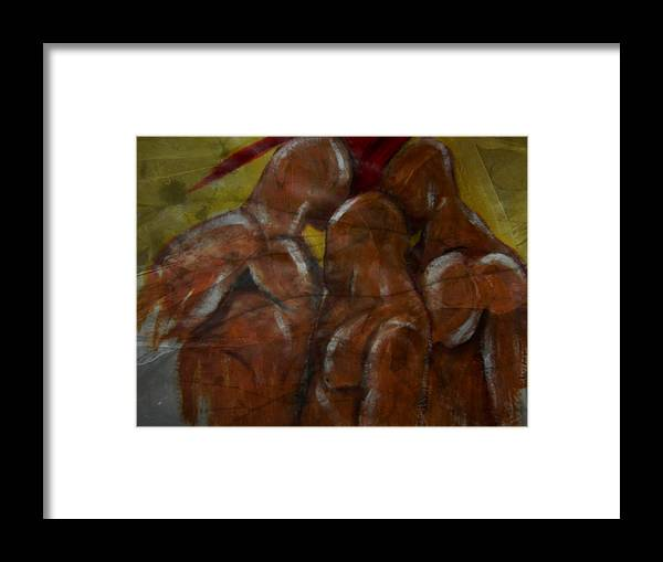 Figure Framed Print featuring the mixed media Squeezing trhough by Joseph Ferguson