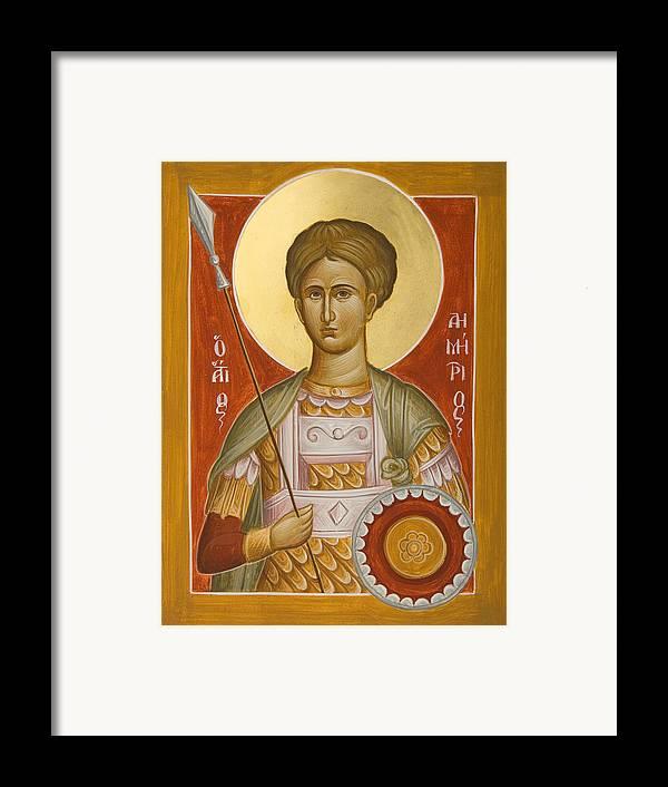St Demetrios Framed Print featuring the painting St Demetrios The Myrrhstreamer by Julia Bridget Hayes