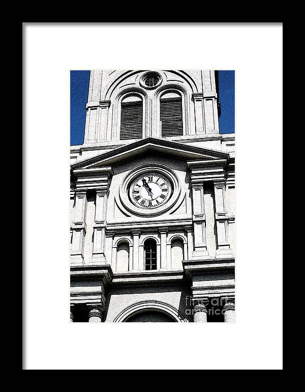 Travelpixpro New Orleans Framed Print featuring the digital art St Louis Cathedral Clock Jackson Square French Quarter New Orleans Fresco Digital Art by Shawn O'Brien