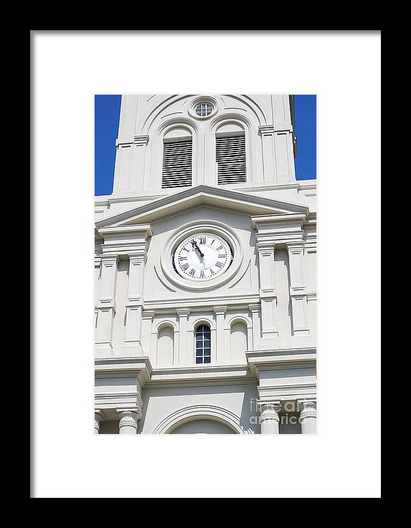 Travelpixpro New Orleans Framed Print featuring the photograph St Louis Cathedral Clock Jackson Square French Quarter New Orleans by Shawn O'Brien