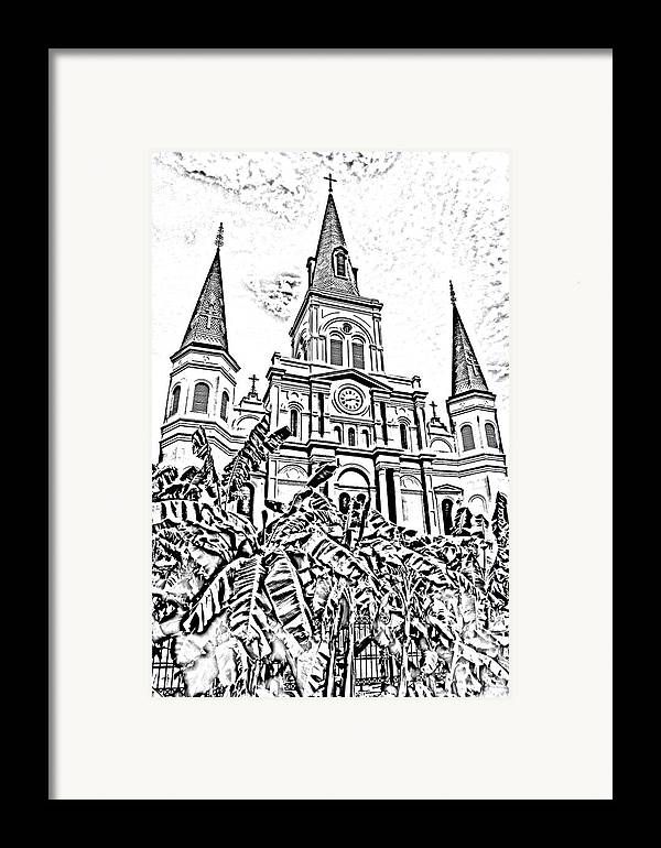 Travelpixpro New Orleans Framed Print featuring the digital art St Louis Cathedral Rising Above Palms Jackson Square New Orleans Photocopy Digital Art by Shawn O'Brien