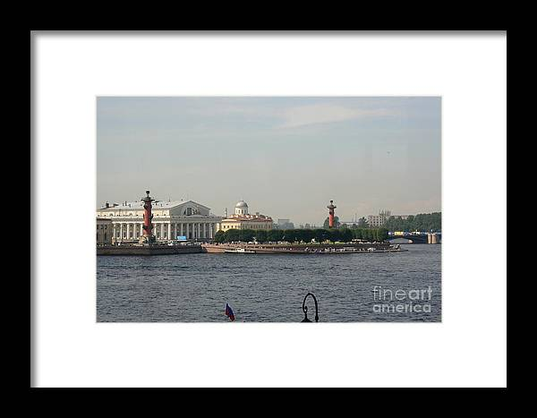 Exchange Framed Print featuring the photograph St Petersburg And River Neva - Russia by Christiane Schulze Art And Photography