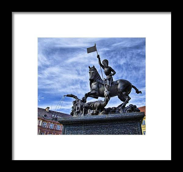 St Vitus Cathedral Framed Print featuring the photograph St Vitus Cathedral - St George Statue by Jon Berghoff