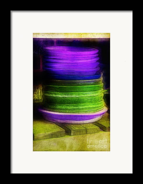 Purple Framed Print featuring the photograph Stack Of Saucers by Judi Bagwell