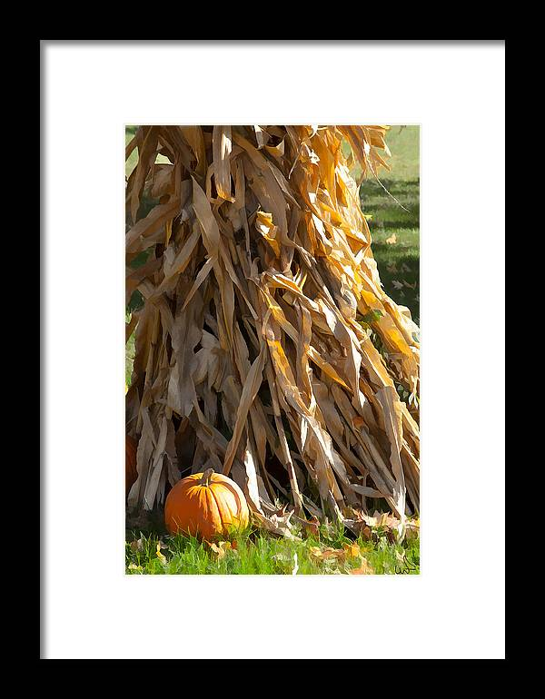 Corn Framed Print featuring the photograph Stacked Stalks And Placed Pumpkin by Michael Flood