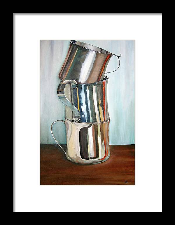 Still Life Framed Print featuring the painting Stacking Them Up by Amy Higgins