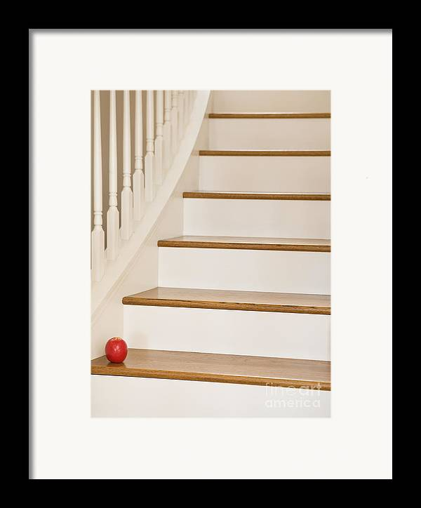Apple Framed Print featuring the photograph Stairs And Apple by Andersen Ross